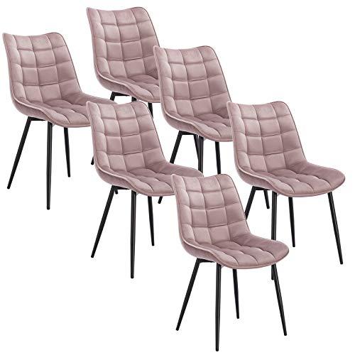 WOLTU 6 x Esszimmerstühle 6er Set Esszimmerstuhl Küchenstuhl Polsterstuhl Design Stuhl mit Rückenlehne, mit Sitzfläche aus Samt, Gestell aus Metall, Rosa, BH142rs-6