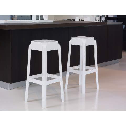 Relax e Design Sgabello Bianco in policarbonato IGNIFUGO V2, idoneo Anche per Ambienti Esterni H.65-36x36