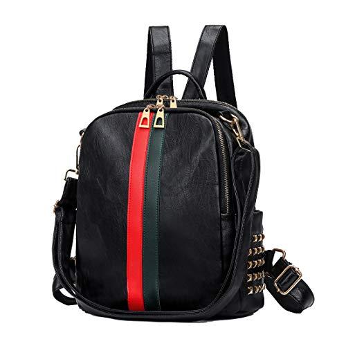 Artwell Women Backpack Purse Cute Mini Leather Rucksack Fashion Small Daypacks Travel Shoulder Handbag for Girls (Medium Black)