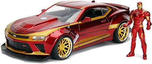 Jada Toys, 99724R, Modelo 2016, Chevy Camaro con Figura Iron Man 1/24 Die Cast Marvel, Rojo/Oro