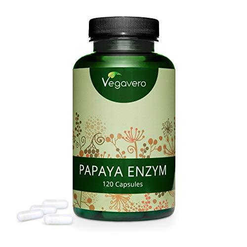 PAPAYA Enzym Vegavero ® | HOCHDOSIERT: 1500 mg Papain pro Tagesdosis | 120 Kapseln | PREIS-LEISTUNGS-SIEGER 2020* | Ohne Zusatzstoffe | Laborgeprüft | Vegan