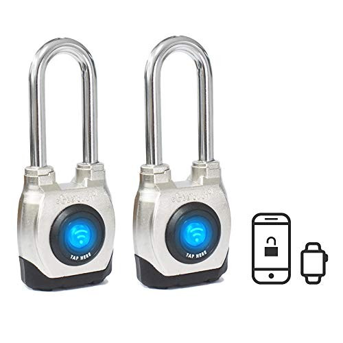 eGeeTouch 4th GEN. Outdoor Smart Padlock, Weatherproof, Rugged Design for Commercial use, Bluetooth c/w NFC Fob (Long Shackle) (2. 2 Pack)