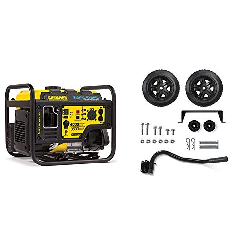 Champion 4000-Watt RV Ready DH Series Open Frame Inverter with Quiet Technology & Wheel Kit with Folding Handle and Never-Flat Tires for Champion 2800 to 4750-Watt Generators