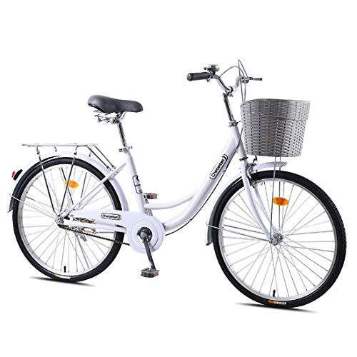 CStern Adult Commuter Retro Work Bike with Basket Cruiser Bikes with Wear-Resistant Tires White 24 Inch