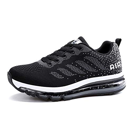 populalar Herren Damen Turnschuhe Laufschuhe Sportschuhe Straßenlaufschuhe Sneakers Atmungsaktiv Trainer Running Fitness Gym Outdoor Leichte Black White 39
