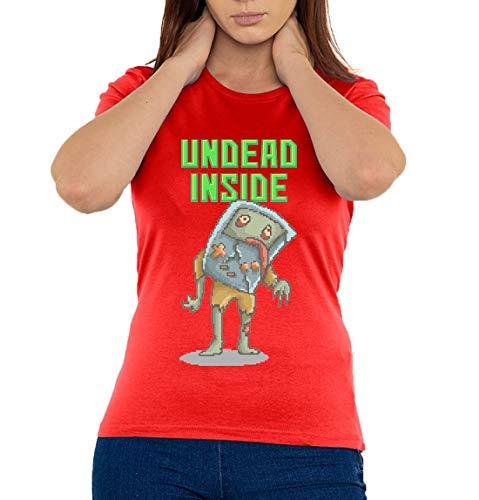 Undead Inside Retro Console Pixel Art Camiseta Mujer Large