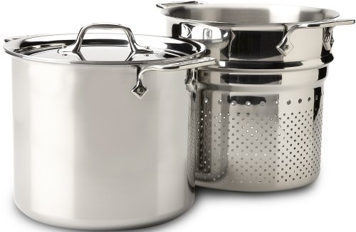 All-Clad 4807 Stainless Steel Tri-Ply Bonded Dishwasher Safe Pasta Pentola with Insert / Cookware, 7-Quart, Silver