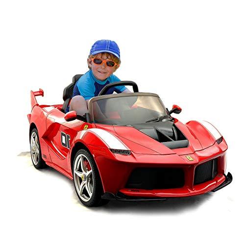 COSTWAY 12V Eletro Kinderauto mit 2,4G Fernbedienung | Musik | LED Lichter | Soundeffekt | AUX-Schnittstelle | 2 Geschwindigkeiten | Vorwärts- und Rückwärtsgang | 2 Türen zum Öffnen