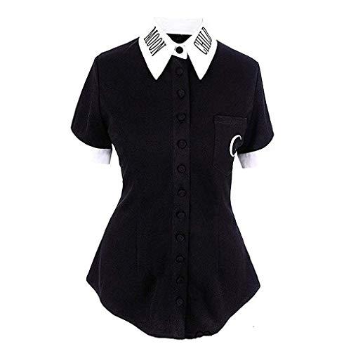 Routefuture-La Mode Vêtements pour Femmes Impression De Lune Punk Gothique Noir Sexy Collier À Col en V Manche Courte T-Shirt en Vrac Les Loisirs Top
