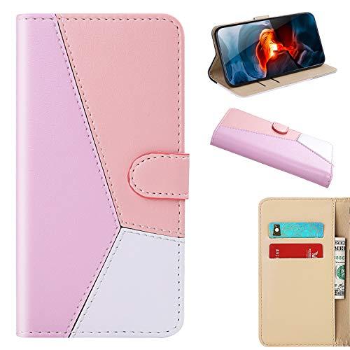 Handytasche Schutzhülle Tasche für Sony Xperia XA1/Xperia Z6 Spleißen Flipcover Wallet Etui Tasche PU Leder Flip Cover Handyhülle Ledertasche Skin Bookstyle Elegant Frau Shell Pink Rose Weiß