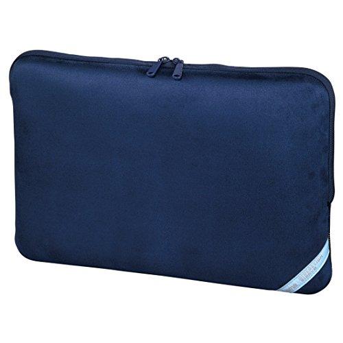 Hama Notebook-Sleeve Velour Style (Schutzhülle für Notebook / Netbook / Laptop, Notebooktasche geeignet für Computer bis 44 cm / 17,3 Zoll Bildschirmdiagonale, Laptoptasche aus Neopren) indigoblau