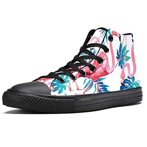 LORVIES - Zapatillas de deporte con hojas de palma tropical azul con flamenco rosa exótico, (multicolor), 46 EU
