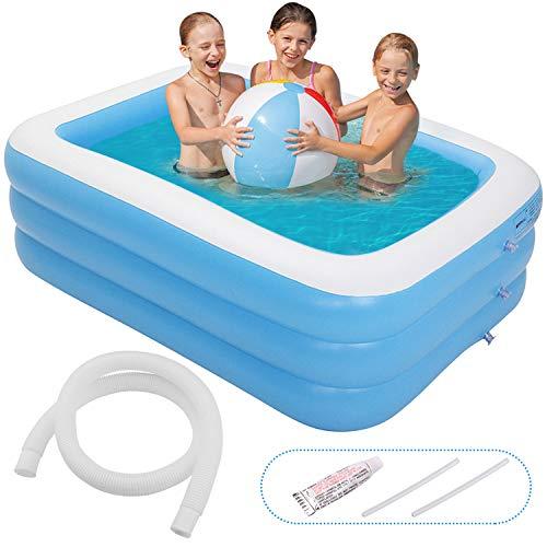 Minterest Aufblasbarer Pool,196 x 143 x 60cm Planschbecken für Kinder ab 3 Jahren, Jugendliche und Erwachsene, Großer Family Pool rechteckig für Erwachsene, Garten, Outdoor