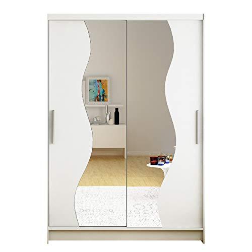 Kleiderschrank Miami S mit Spiegel, Breite: 120cm, Schwebetürenschrank mit Kleiderstange und Einlegeboden, Garderobe, Schlafzimmer, Diele & Flur (Weiß + Spiegel, ohne Beleuchtung)