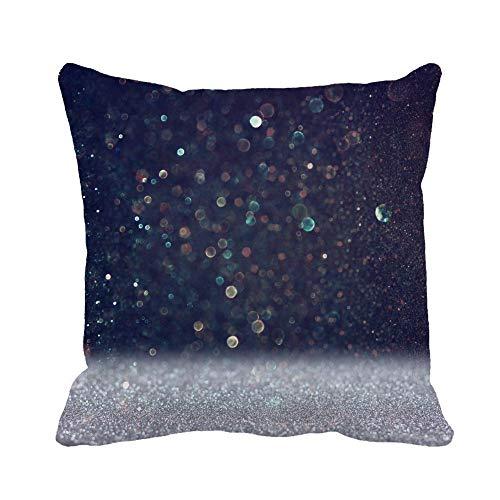 Throw Pillow Cover Christmas Vintage Lights Plata y Negro Defocused Bokeh Luxury Funda de Almohada Funda de Almohada Cuadrada Decorativa para el hogar Funda de cojín