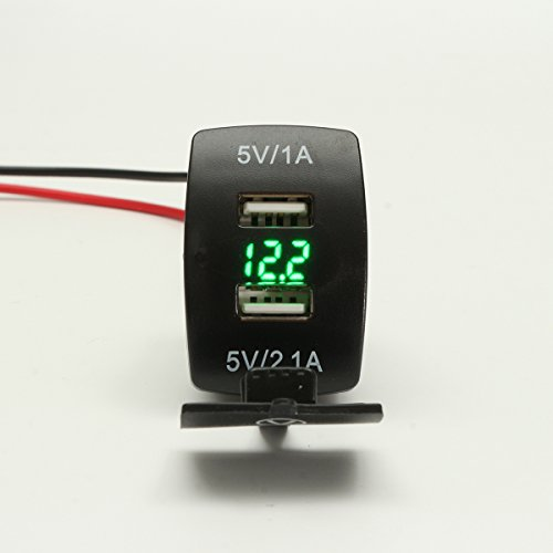 GOZAR 12V Dual USB Power Charger bus W/LED voltmeter spanning voor motorfiets auto boot - Groen