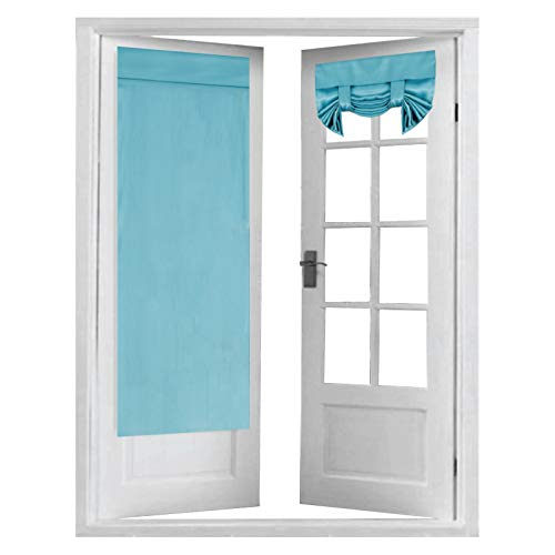 Blackout Door Curtain Panels for French Door Tricia Window Door Curtains, Thermal Insulated Rod Pocket Room Darkening Energy Efficient Curtain Draperies, 2 Panels, 26 x 68 Inches, Aqua
