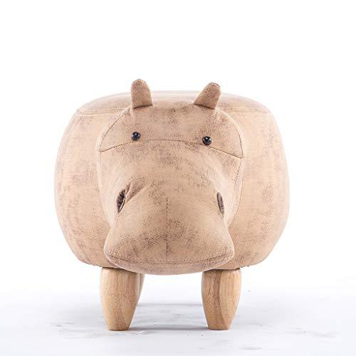 DaPengNB Massivholz-Fußbank Kreative Hippo Schuhe Bank Sofa Hocker Kinder Bench-Test Schuhe Hocker Lagerung Fußbank (Color : Khaki)