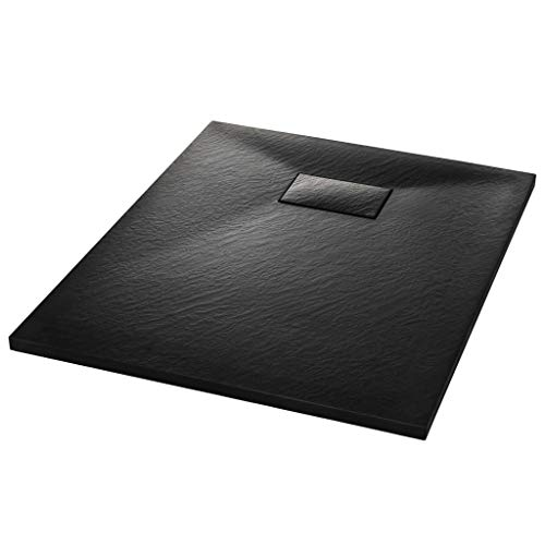 vidaXL Plato Ducha Resina Textura Pizarra Extraplano Antideslizante Mineral Fibra Vidrio Resistente Duradero Fácil Limpiar Cuadrado Negro 90x70 cm
