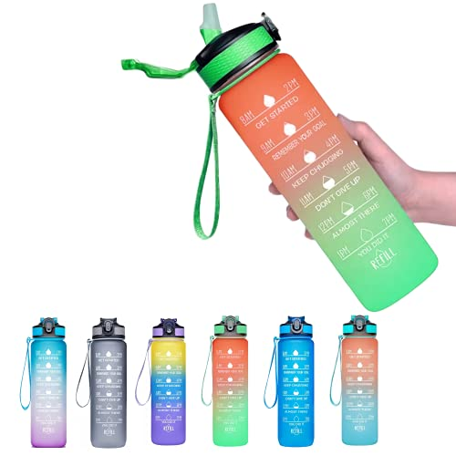 Viogor 32oz Sports Water Bottle With Time Marker & Straw,to Ensure You Drink Enough Water Throughout The Day for Fitness and Outdoor Enthusiasts, Leakproof Durable BPA Free (Orange/Green, 32oz)
