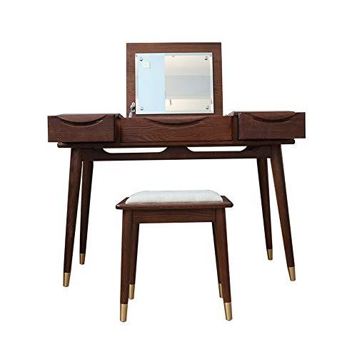 Huangjiahao Tocador de madera maciza multifuncional con taburete acolchado, mesa de maquillaje con espejo superior abatible y 3 cajones deslizantes para dormitorio, vestidor, madera, marrón, 105x45x76cm