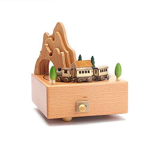 cheerfulus Caja de música de madera pequeña decoración de juguete de trenes regalo de cumpleaños de regalo de Navidad para niños