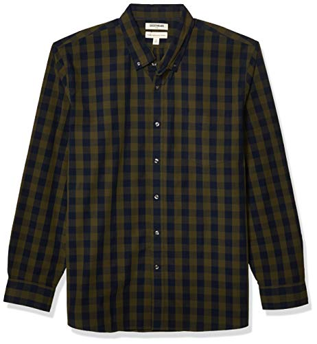 Goodthreads Men's Standard-Fit Long-Sleeve Large-Scale Check Shirt, Green Depths, X-Large