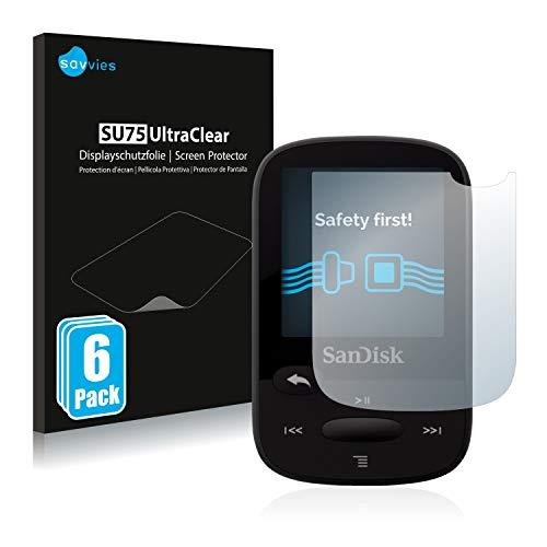 Savvies 6X Schutzfolie kompatibel mit SanDisk Sansa Clip Sport Displayschutz-Folie Ultra-transparent