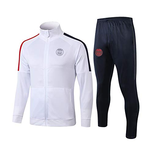 HIAO Football Training Suit Men's Long Sleeve Sportswear Suit Jersey White - A1063 502 (Color : White, Size : XL)