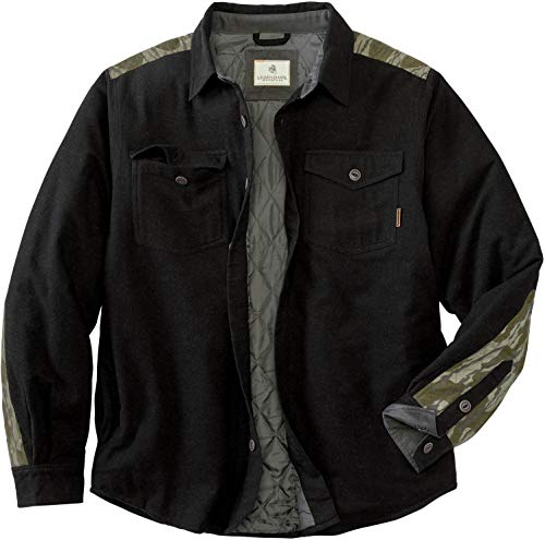 Legendary Whitetails Men's Woodsman Quilted Shirt Jacket, Black Heather/Mossy Oak Bottomland, X-Large (6325 BHMB XL)