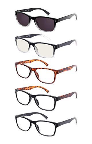 EFE Gafas de Lectura 5 Unidades Gafas para Leer Moderno Ligeras Comodas Vista de Cerca Hombre y Mujer (+2.50)