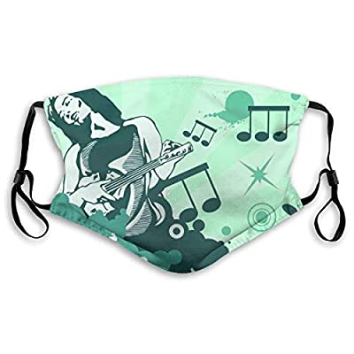 HOTBABYS The Music Culture Reusable Activated Carbon Filter Face Covering with Replaceable Filter for Men Women S