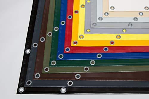 Lona para camiones (610 g/m2), lona de PVC con ojales de 12 mm, varios colores, sin dobladillo, Gris