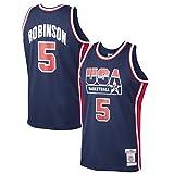 XXJJ David Robinsón - Camiseta de baloncesto retro # 5, USA 1992 Dream Team Authentic Jersey, colección Fan & mejor regalo para hombres, azul -L