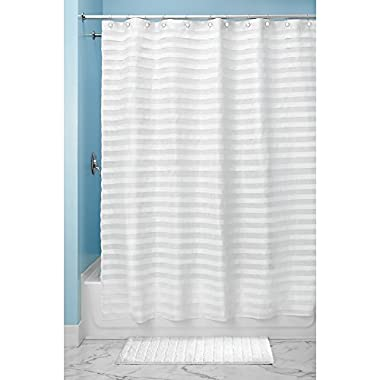 InterDesign Tuxedo X-Long Shower Curtain, White, 72 Inches X 96 Inches