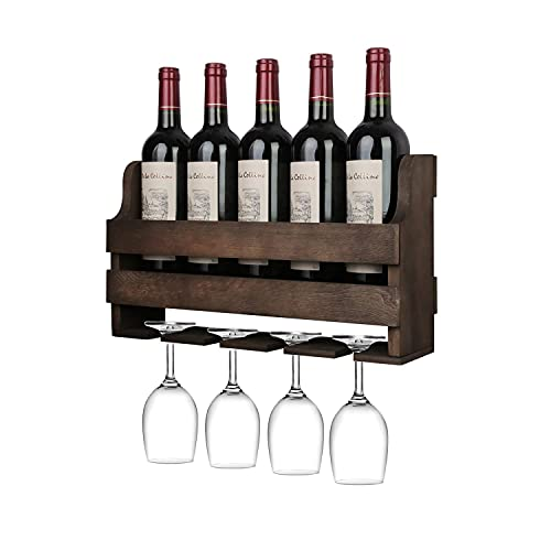ALIANG Estante de Pared para Cocina Estante para Vino y Vaso de Pared, Estante de exhibición de Almacenamiento de Vino de Madera rústica, para Cocina, Comedor, Bar, hogar y Cocina, Completamente en