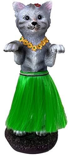 Dashboard Hula Cat Kitten Car Bobblehead Figurine 6 Inches Green Grass Skirt Hawaiian Lei Desk Mantle