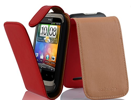 Cadorabo Funda para HTC Wildfire S in Rojo DE Chile - Cubierta Proteccíon Estilo Flip de Cuero Sintético Liso - Etui Case Cover Carcasa