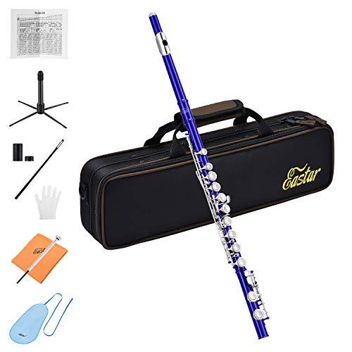 Eastar C Flöte 16 geschlossen Löcher Querflöte Instrument Vernickelt Flöte Anfänger Set mit Flötenständer Koffer Reinigungstuch Handschuhe, Blau (EFL-1B)