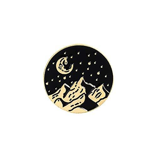 Das Leben ist gut, lass uns wandern Fantasy Sternenhimmel in die Berge reisen Emaille Pin Brosche Abzeichen Schmuck Geschenke für Traveller-Style-1