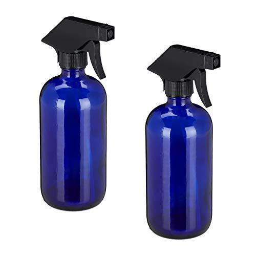 Relaxdays Sprühflasche Glas, 2er Set, 500 ml, nachfüllbar, Nebel & Strahl, Haarpflege, Reinigung, Zerstäuber, leer, blau, 10034197