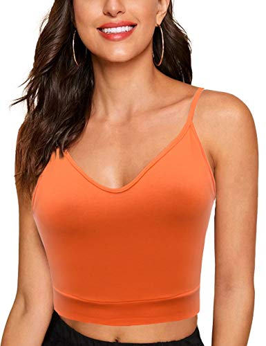 Melynnco Women's Basic Sexy Sleeveless Tank V Neck Cute Summer Cami Crop Top Orange XL