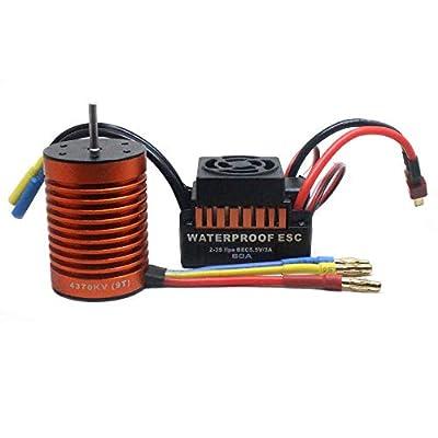 Vanvler 9T 4370KV Brushless Motor + 60A ESC Speed Controller Combo ME720 for 1/10 RC Car