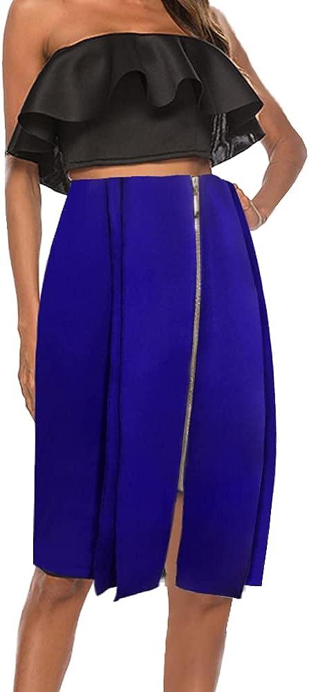 nuoshang Women's High Waist Asymmetrical Bodycon Front Zipper Slit Skirt