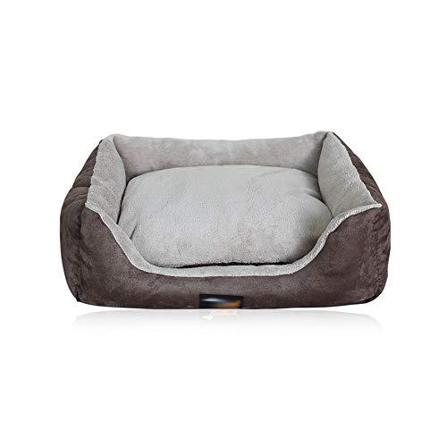 WZLJW Camas para Perros con Cojín Reversible, Interior Cama para Mascotas Ortopedica Cesta para Perro Borde Elevado Mantener El Calor En Invierno Fácil Limpieza-marrón 70x56cm(28x22inch)