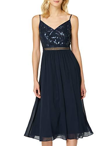 Amazon-Marke: TRUTH & FABLE Damen Midi-Chiffon-Kleid, Rosa (Marineblau) mit Pailletten/Perlen, 36, Label:S
