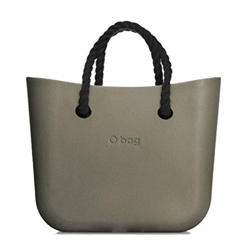 O bag mini colore roccia con manici corti corda neri