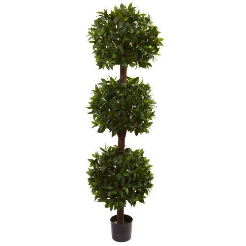 Nearly Natural 5399 Sweet Bay Triple Ball Topiary, 6.5-Feet, Green