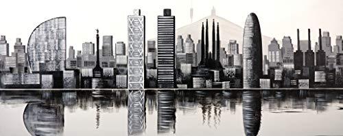 Cuadro Pintado Barcelona en Blanco y Negro 150x60 cm 100% Original, sobre Lienzo, Listo para Colgar
