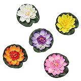 9 piezas de loto flotante 11cm flor de lirio de agua de simulaci/ón para piscina pecera decoraci/ón adornos multicolor